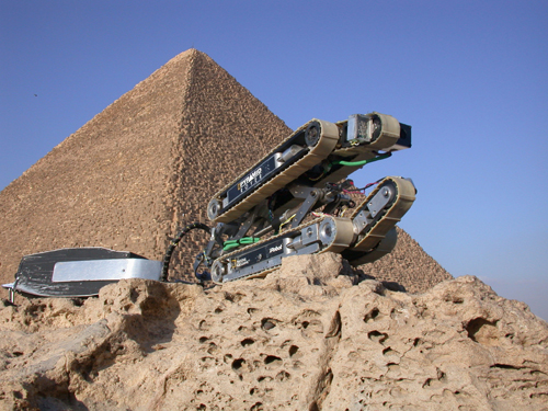 The robot used to explore the so-called airshafts. the Great Pyramid of Khufu in the background. & News on the Robot and the Secret Doors inside the Great Pyramid of ...
